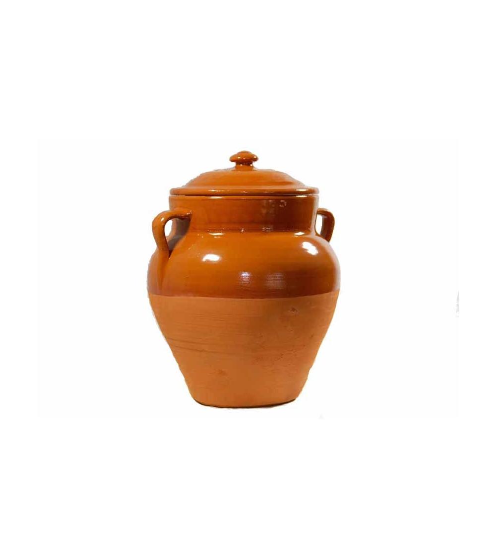 Tinaja de barro ecológica de 30 cm. con tapadera y capacidad para 4 litros aproximadamente.